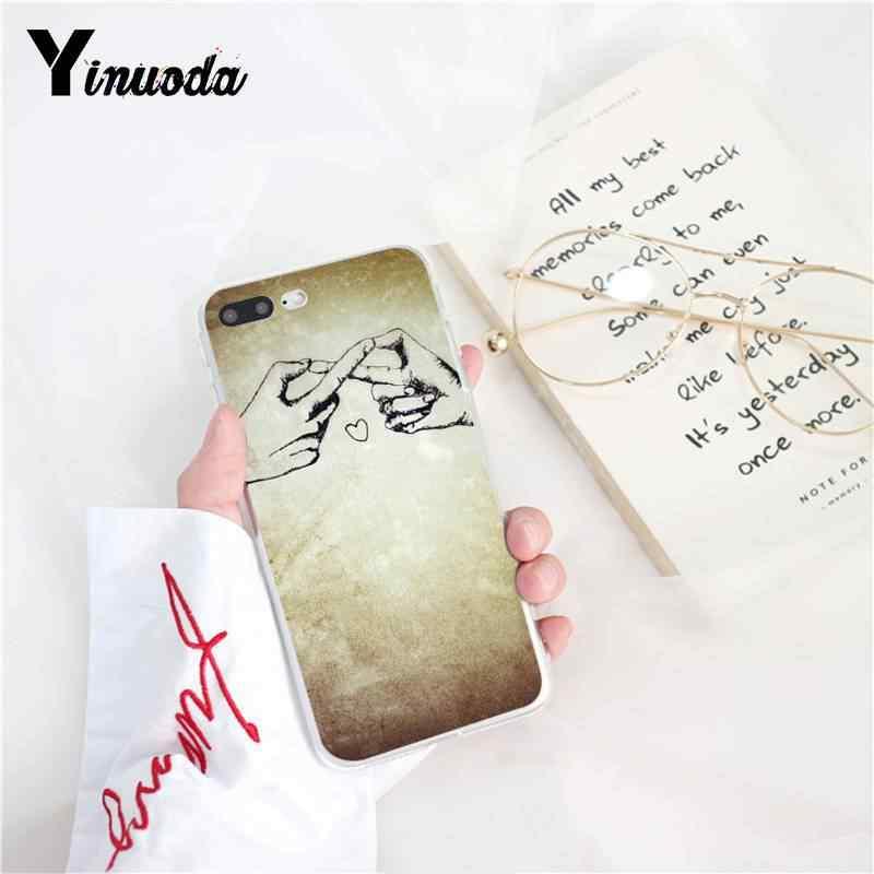 Yinuoda corazón dibujo amor en el dedo gancho suave funda de teléfono para iPhone 8 7 6 S plus X XS X MAX 5 5S SE XR 10 cubierta