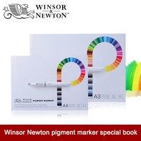 Winsor newton 75g/m2 전문 안료 마커 북 50 매 a3/a4 손으로 그린 스케치 종이 사무실 학교 미술 용품