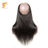 AOSUN HAIR Brazilian Straight Hair 360 Lace Frontal Closure with Baby Hair Remy Human Hair Free Part Adjustabl Natural Color