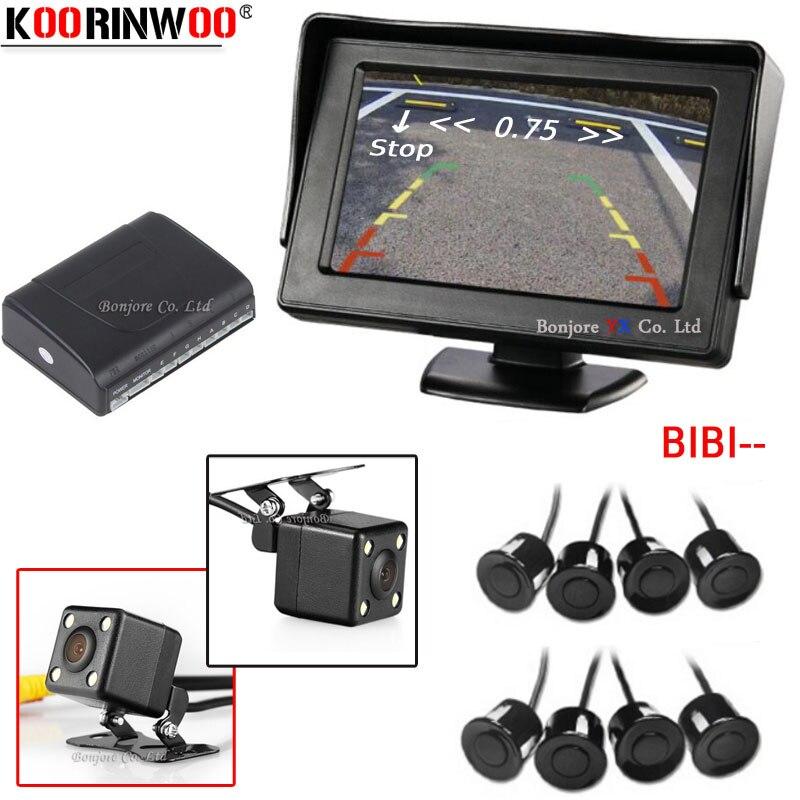 Koorinwoo Dual Core Parking Sensors 8 parktronic 4 3 Car TFT LCD Monitor Reverse Radar Alarm