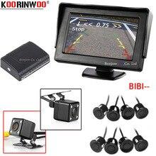 Koorinwoo Dual Core Sensori di Parcheggio 8 parktronic 4.3 'Auto TFT LCD Monitor Reverse Radar di Allarme Fotocamera Anteriore + Posteriore vista Della Macchina Fotografica