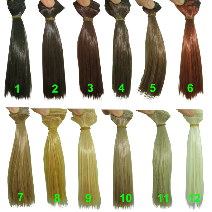 15cm * 100cm curl brown falxen golden khaki black color natural BJD straight Doll Wigs hair for 1/3 1/4 BJD diy