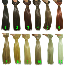 15cm*100CM  curl brown falxen golden black khaki natural color BJD straight Doll Wigs hair for 1/3 1/4 BJD diy