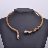 2016 Sexy Women Snake Choker 18K Gold Plated Metal Jewelry Stainless Steel Necklaces Brand Fashion Style