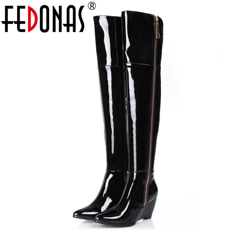 FEDONAS Women Thigh High Boots Over The Knee Boots Sexy Platform Wedges High Heels Ladies Night Club Party Shoes Woman PumpsFEDONAS Women Thigh High Boots Over The Knee Boots Sexy Platform Wedges High Heels Ladies Night Club Party Shoes Woman Pumps