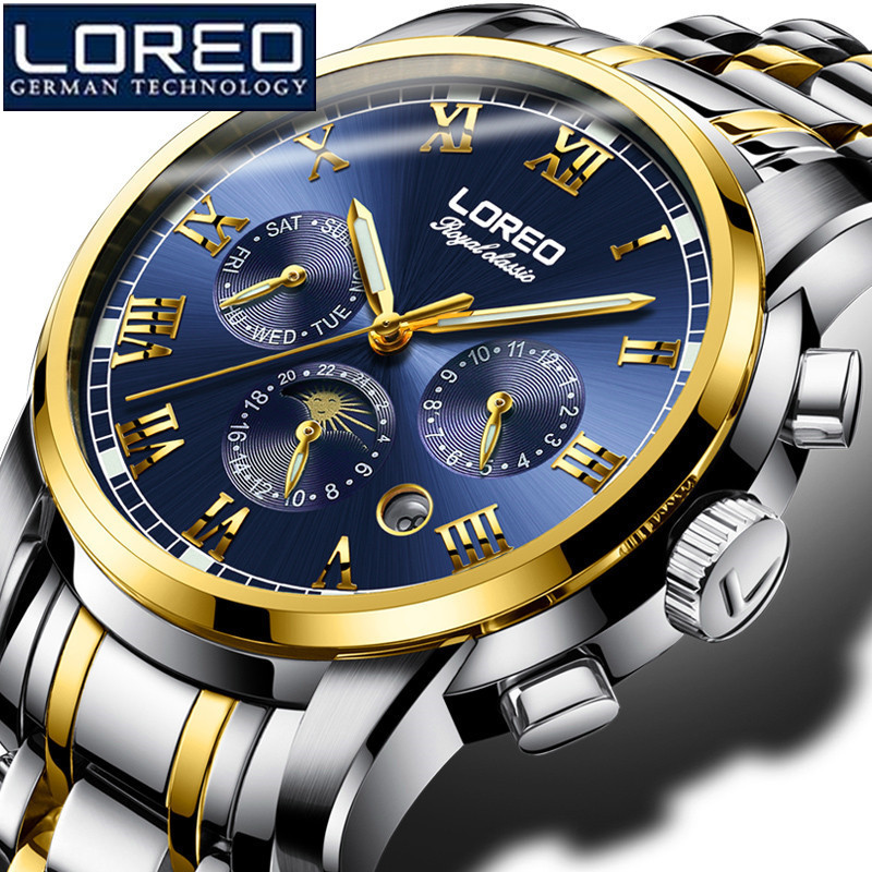 LOREO Men'S Sapphire Watch Antique Stainless Steel Automatic Military Mechanical Wristwatch Business Watches Gift Watch K04 loreo men watch hollow automatic mechanical sapphire 50m stainless steel 316l scratch resistant business elegant watch l06