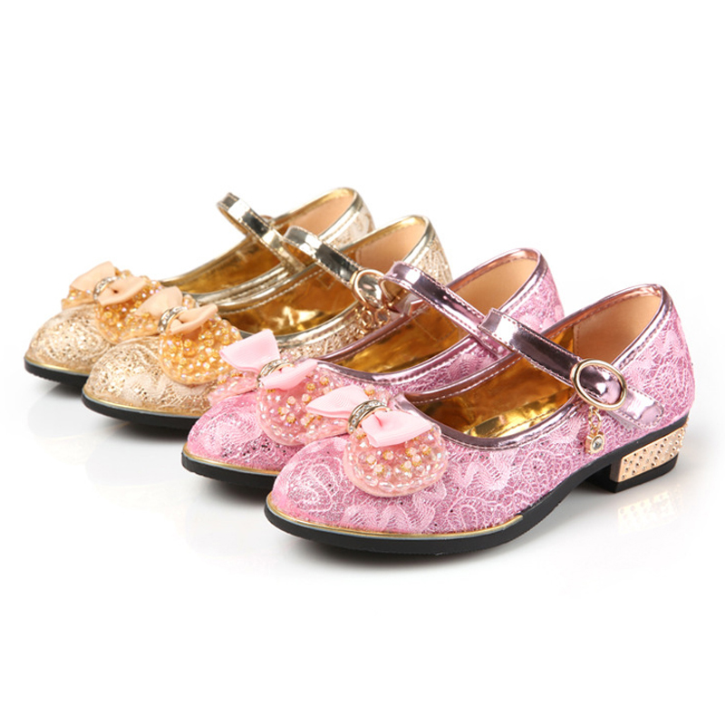 Girls footwear shoes spring and autumn fashion party wedding princess shoes children lace bow-tie leather dance shoes kids tide