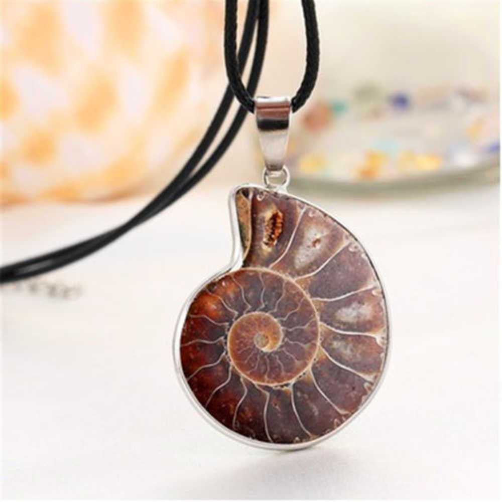 New Sea Nautilus Ammonite Shell Necklace Natural Madagascar Pendant Natural Coloured Snail Fossils Pendant Necklaces