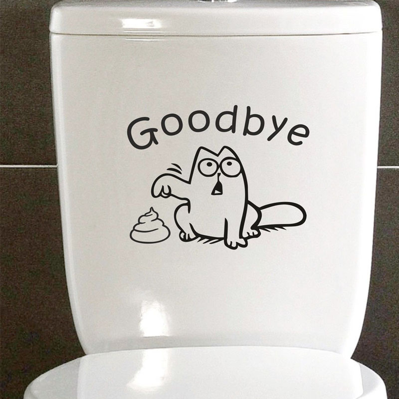 goodbye potbellied toilet stickers funny waterproof wall stickers bathroom decor cartoon animals pointing to faeces wall