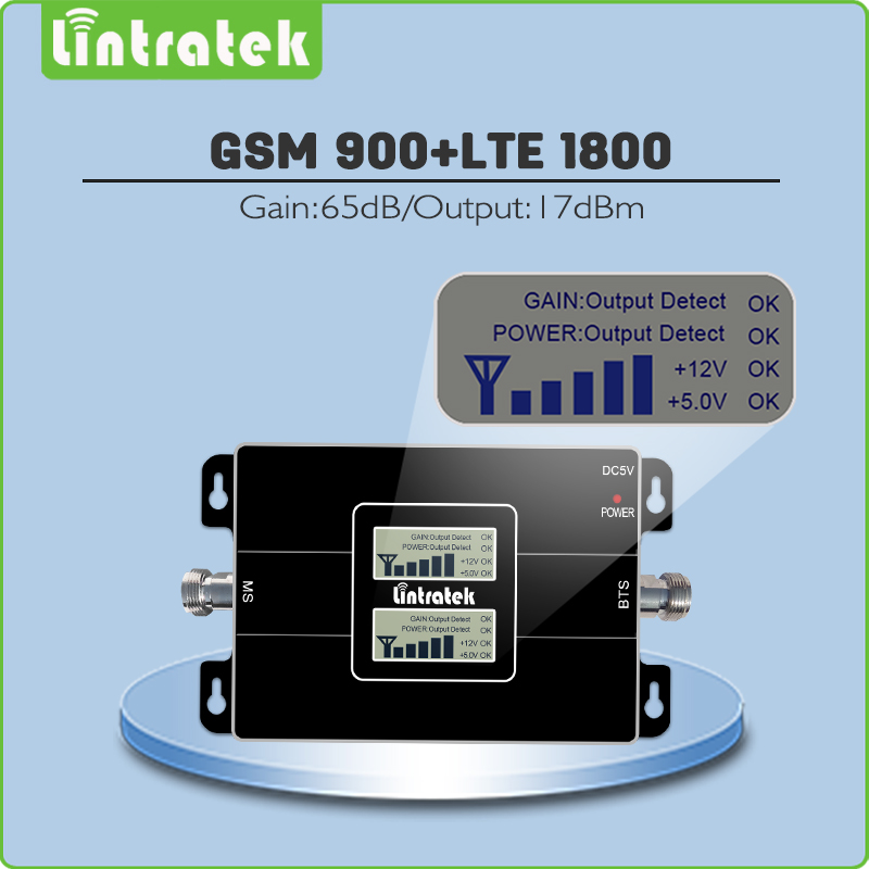 Negro mini tamaño doble pantalla LCD ganancia 65dB teléfono móvil repetidor GSM 900 MHz y 1800 MHz GSM DCS doble Banda de señal de refuerzo