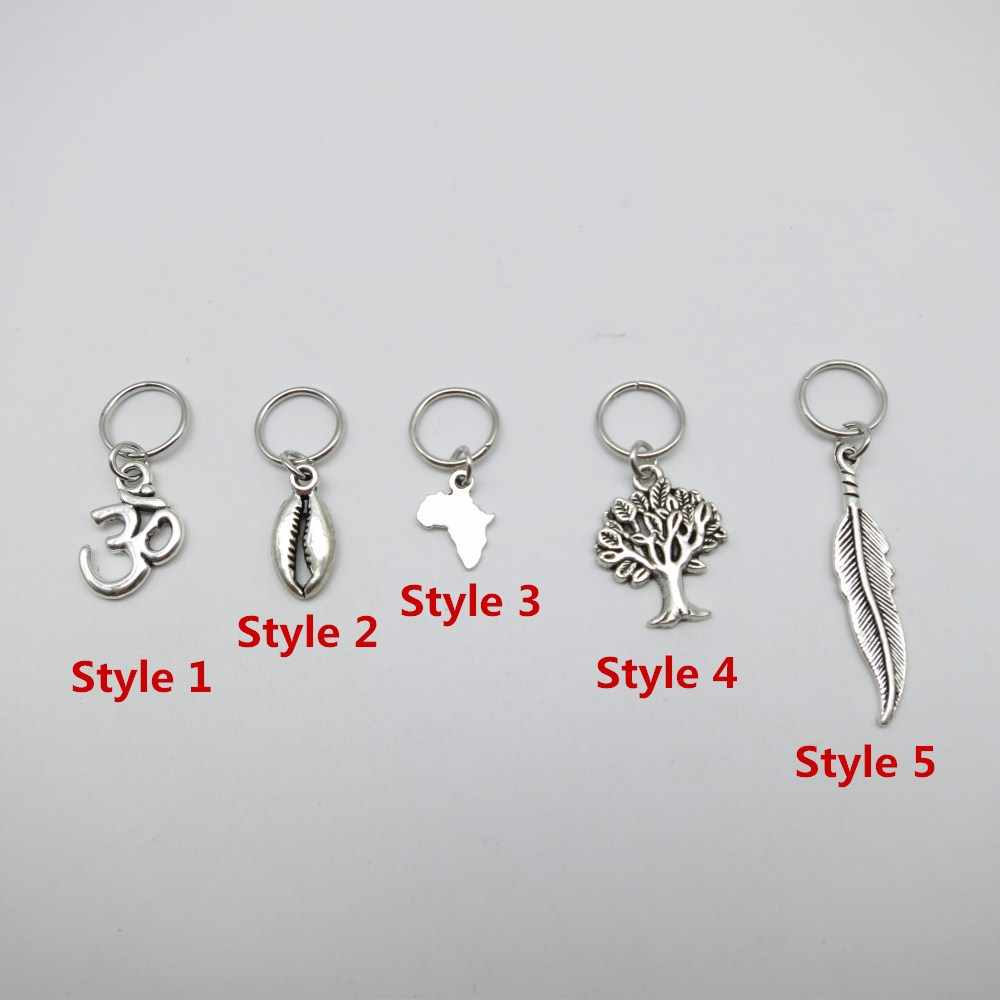 5Pcs/Pack Silver different 5 styles Charms hair braid dread dreadlock beads clips cuffs rings Jewelry dreadlock accessories