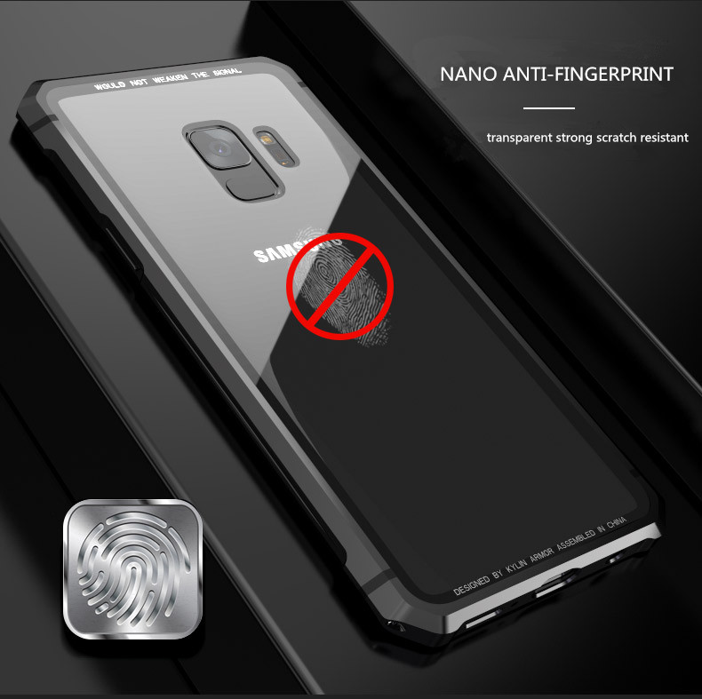 Samsung S9 Plus Shockproof case clear tempered glass back cover  diamond metal bumper (8)