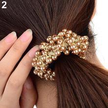 Мода женщины девушки искусственный жемчуг бусины волос группа веревка Scrunchie хвост Holderhot