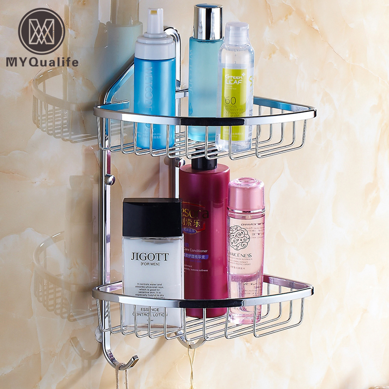 Double Shelf Bathroom Wall Storage Basket Cosmetic Storage Rack Shelf Hanging Lavatory Storage Holder газонокосилка электрическая mtd smart 38 e k 18akias 600