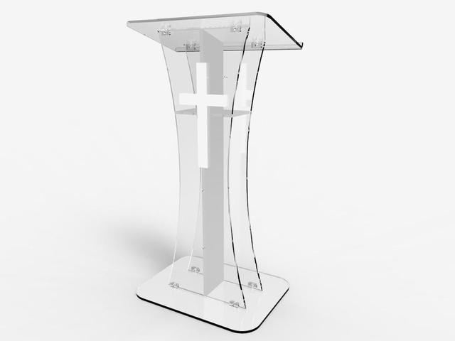 Fixture Displays Podium crystal Clear Ghost Acrylic lecrern  w / white Cross With cross   Easy Assembly Required CROSS