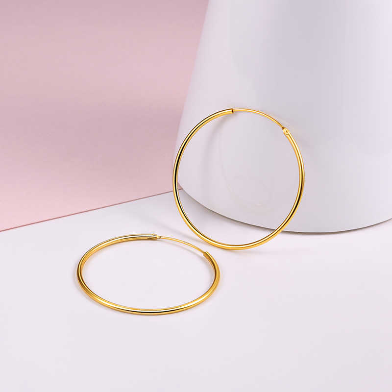 8b03ec51c ... U7 925 Sterling Silver Hoop Earrings Round Design Geometric Wedding Big  Earring 2018 Mother's Day Gift ...
