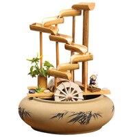 110 В/220 В ручной работы скульптура бамбук керамика фонтан распылитель сад фэн шуй колеса декоративные украшения для подарок на день рождения
