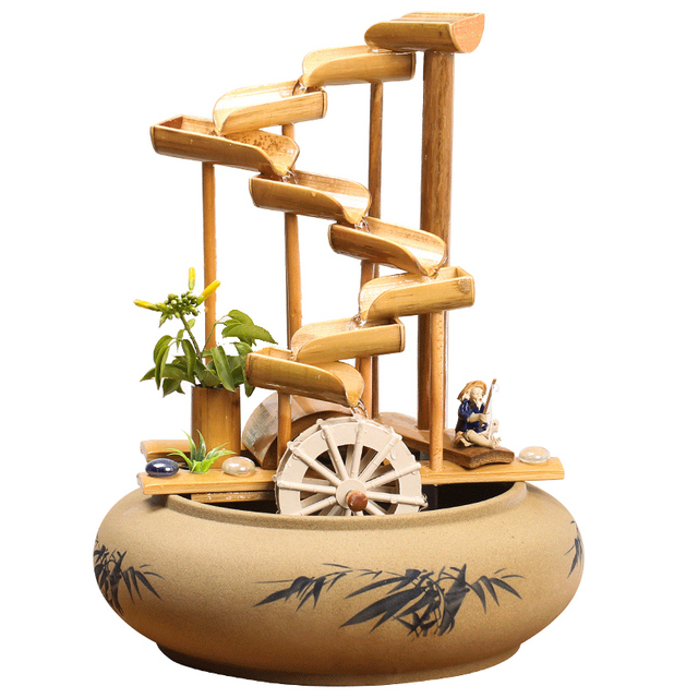 110/220V Handmade Sculpture Bamboo Ceramic Water Fountain Atomizer Garden Feng Shui Wheel Decorative Ornaments for Birthday Gift