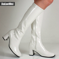 Halloween Costumes White 1960s Go Go Ladies Retro Boots For Women Knee High Boots 60s 70s
