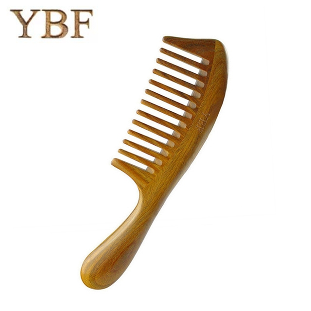 YBF Styling Tools Thickening Green sandalwood Wood Hair Combs makeup Head Massager Antistatic Wooden brush 2017 Health Care gift