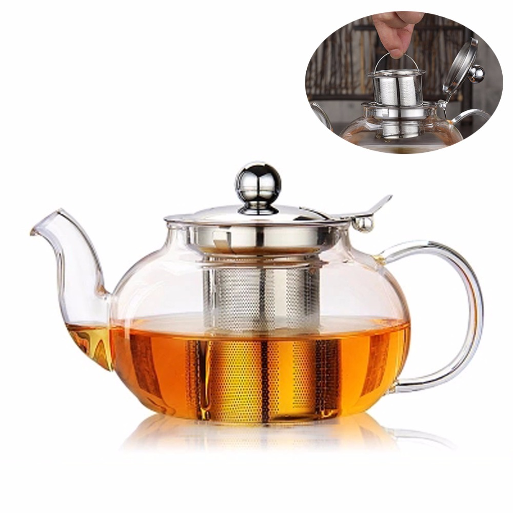 800 / 1000ml High Borosilicate Glass Teapot W/ Removeable Stainless Steel Tea Strainer & Lid, Microwave Stovetop Safe Tea Pots
