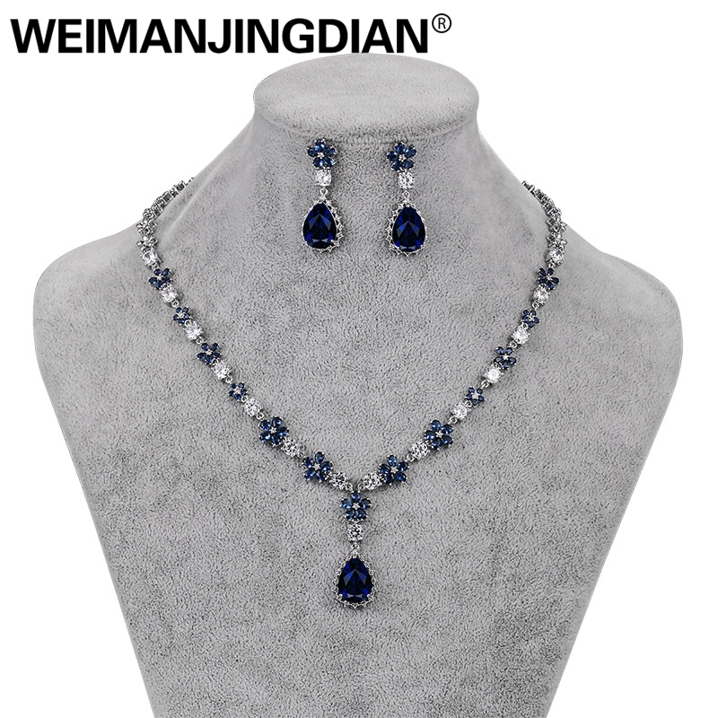 WEIMANJINGDIAN Red / Blue / Clear Teardrop and Flower Cubic Zirconia Crystal Necklace and Earring Set for Wedding or Party weimanjingdian sparkling cubic zirconia crystal flower design pull string zirconium wedding bracelets for girls or wedding