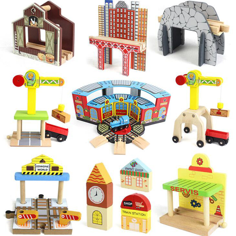 DIY Wooden Tracks Toy Crane Coal Station Cave Tunnel Wooden Platform Wooden Train Accessories Track Pieces Building Blocks Toys