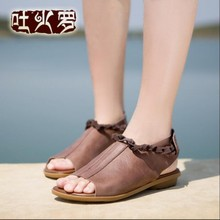 2016 new handmade genuine leather women sandals first layer of cowhide personalized vintage flat women's shoes