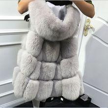 Осень зима лиса шубу свободный тип юбка имитация fox жилет меховой жилет средней длины большой размер XXXL Женщин