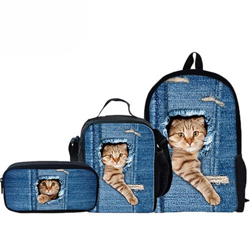 Personnalisé 3 pièces/ensemble mignon chat sac à dos Animal Denim sacs à dos pour décontracté enfants sac d'école garçons filles voyage sac à dos
