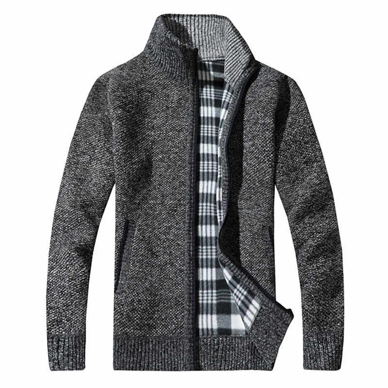 男性の秋と冬の新プラスベルベット厚い暖かいニットジャケット/ソリッドカラーは襟野生ブティックスリムセーターコート