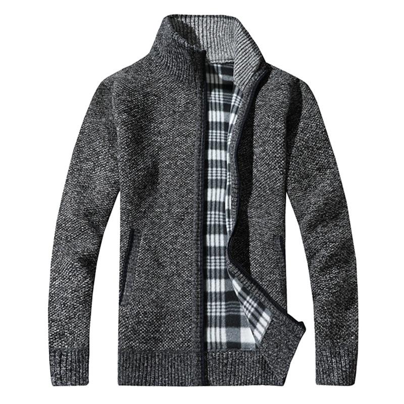 100% QualitäT Männer Herbst Und Winter Neue Plus Samt Dicke Warme Stricken Jacke/einfarbig Stehen Kragen Wilden Boutique Schlank Pullover Mantel