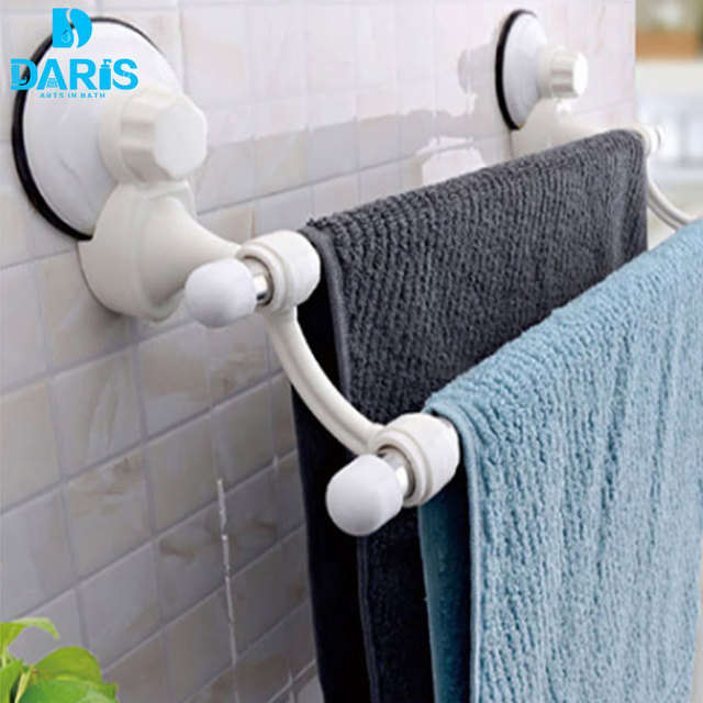 DARIS Decorative Hotel Plastic Bathroom Towel Rack Toilet Kitchen Stand  Suction Cup Wall Mount Towel Rack