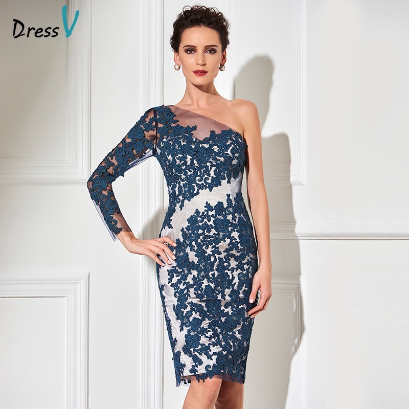 Discount Free Shipping Cwds078 One Shoulder With: Dressv One Shoulder Dark Navy Cocktail Dress Sheath Long