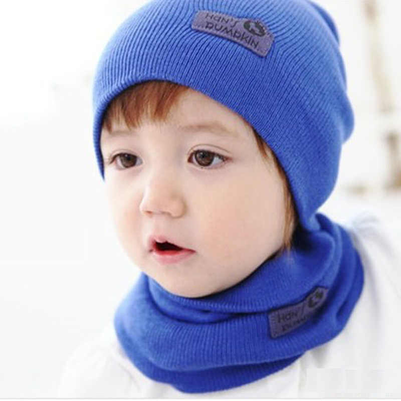 b75fedbd29b DreamShining Baby Hat Scarf Newborn Toddler Knitted Cap Crochet Children  Winter Warm Hats Unisex Solid Wool