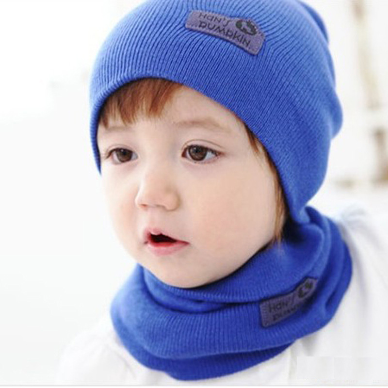 DreamShining Baby Hat Scarf Newborn Toddler Knitted Cap Crochet Children  Winter Warm Hats Unisex Solid Wool Baby Caps Scarf Sets 345493912a1