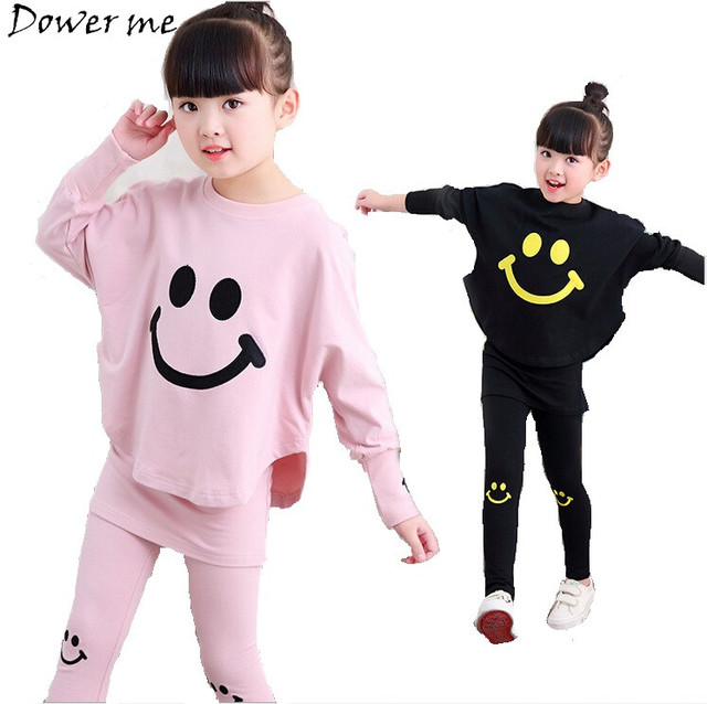 Spring Kids Girls Clothes Set Emoji Print T-shirt + Pant 2 Pcs Baby Outfit Girls Cotton Sport Suit 2018 New Children Clothing