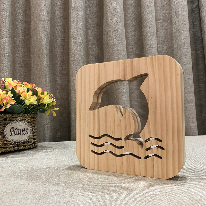 Creative Dolphin 3D Wooden Lamp Warm White LED USB Night Light Home Decoration Children Birthday Holiday Christmas Gift W3D-22 icoco usb rechargeable led magnetic foldable wooden book lamp night light desk lamp for christmas gift home decor s m l size