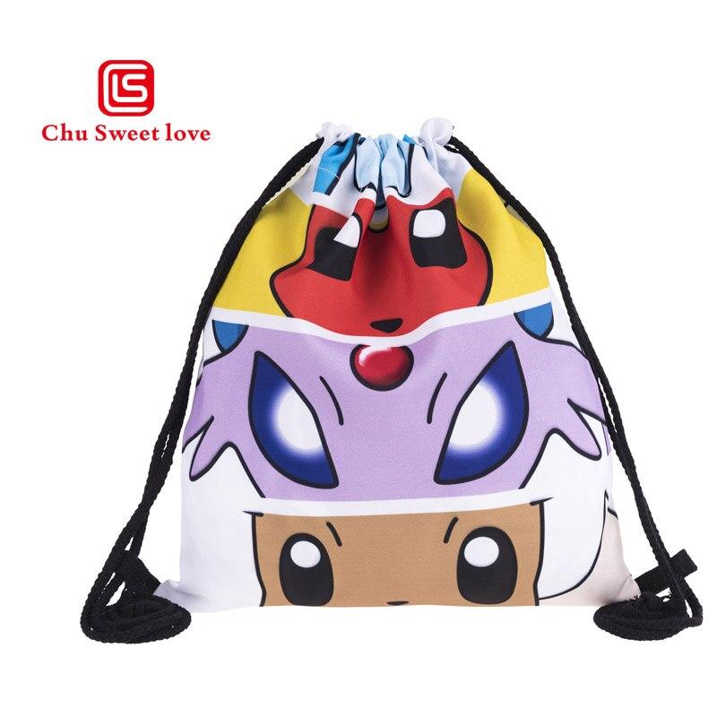 Women's Drawstring Bag Elf Prints Beach Pouch Girls Casual Storage Pocket Small Kids Fashion Drawstring Backpack Canvas Bags
