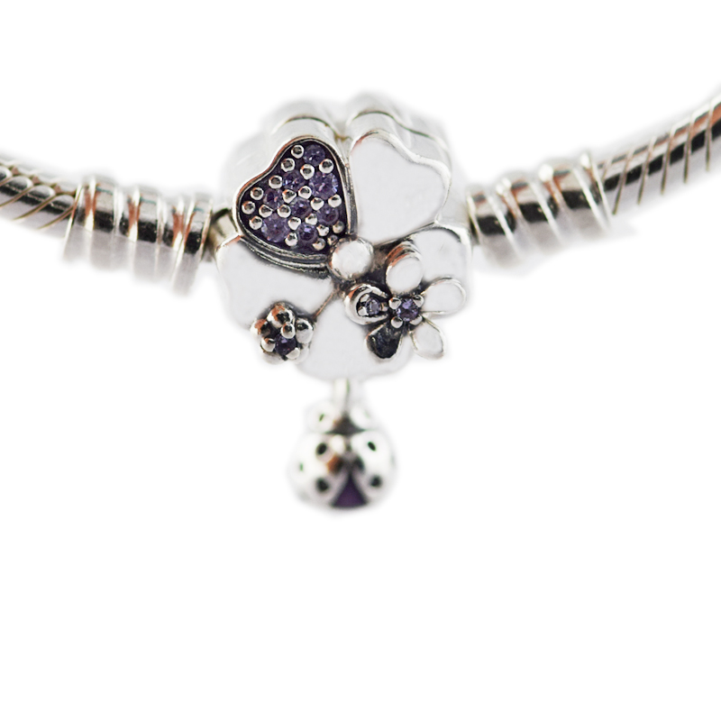 Pandulaso Wildflower Meadow Clasp Sterling Silver Bracelet for woman DIY fashion Jewelry Fit Original European beads & Charms wildflower