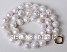 FREE SHIPPING>>>@@ > N769 11mm baroque white Reborn keshi pearls necklace filled gold clasp(China)