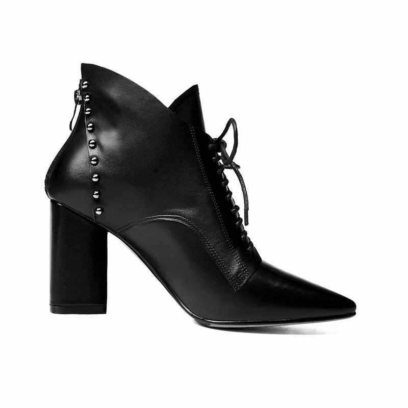 Frau Quadrat High Heel Lace Up Echtes Leder Stiefeletten Mode Spitz Kleid Damen Stiefel Schwarz Grün