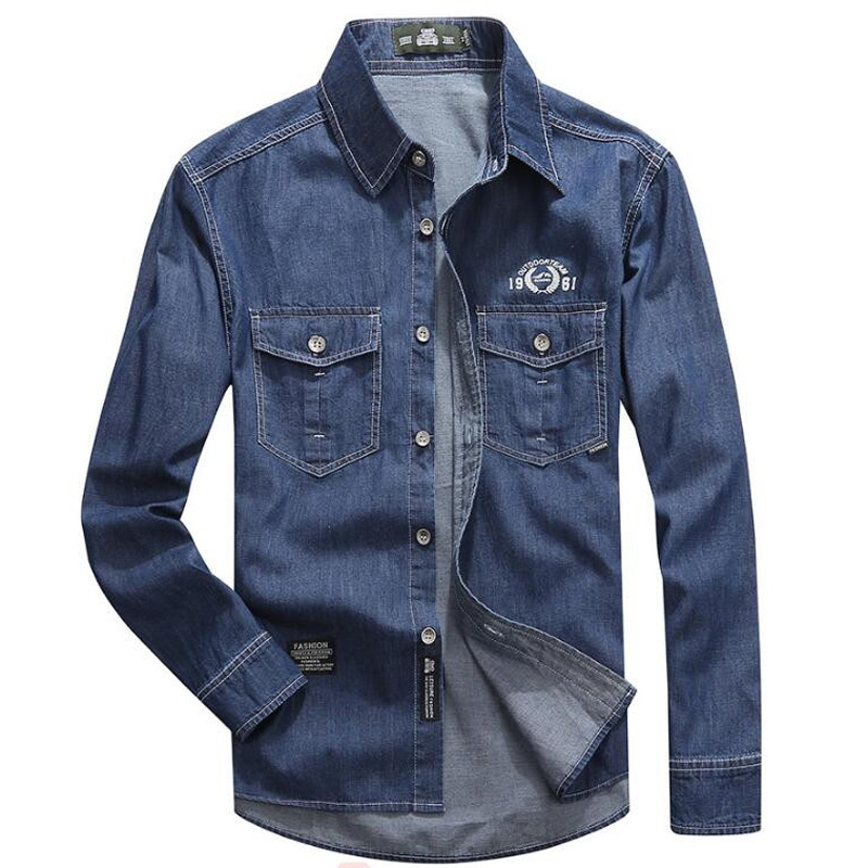 Clothing Denim Shirts Men Casual Shirt Long Sleeve Fashion Slim Camisa Jeans Men's Denim Shirts 5XL