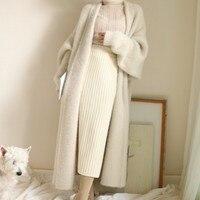 Реального норки кашемировое длинное пальто из натуральной норки кашемировый свитер теплый пользовательские большой Размеры чистая правда