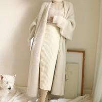Real Mink Cashmere Long Coat Genuine Mink Cashmere Sweater Warm Custom Big Size Pure True Mink Fur X Long Cardigans 2019
