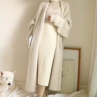 Real Mink Cashmere Long Coat Genuine Mink Cashmere Sweater Warm Custom Big Size Pure True Mink Fur X Long Cardigans 2019