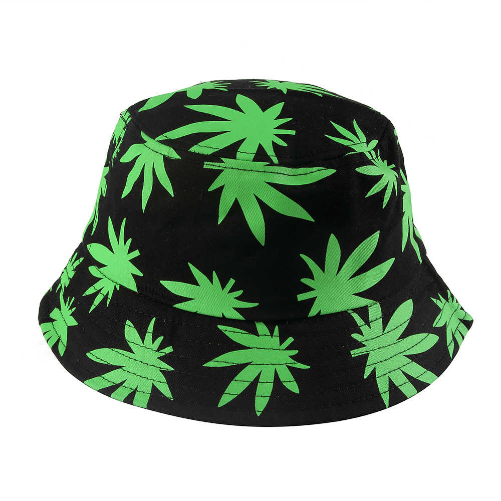 f6b19f20ddd FOXMOTHER New Hip Hop Unisex Green Black Color Weed Leaves Print fishing  Caps Gorros Bucket Hat