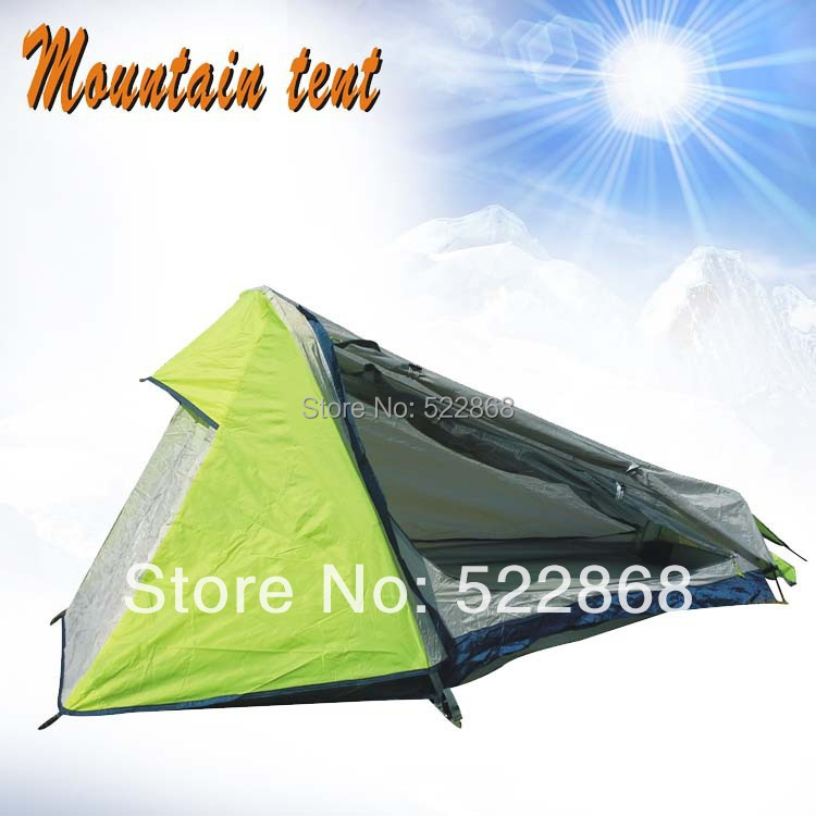Single person top quality high-grade double layer aluminum pole mountain tent/camping tent flytop high quality fabric double layer aluminum pole camping tent against wind field with snow skirt
