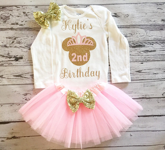 personalized Minnies Mouse 2nd half 1st birthday infant bodysuit onepiece  Tutu toodles Outfit Set baby shower party favors -in Party Favors from Home  ... 919ab6341d7e