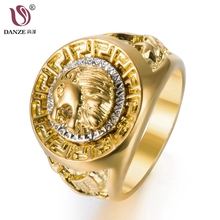Фотография DANZE Hip Hop Gold Color Copper Signet Ring For Man Cool Lion Head Ringen Punk Male Wedding Bands Dropshipping Supplier